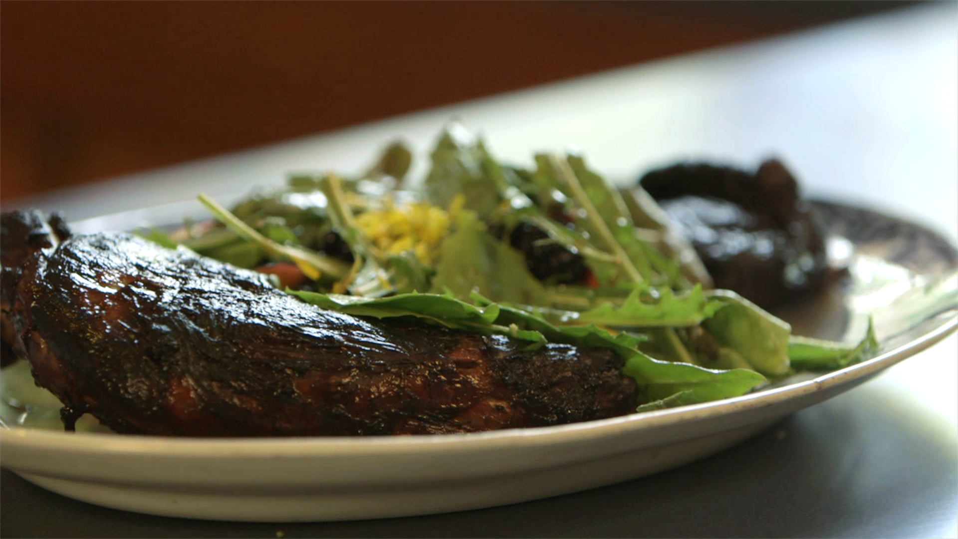 Blackened Porcupine with Wild Forest Salad