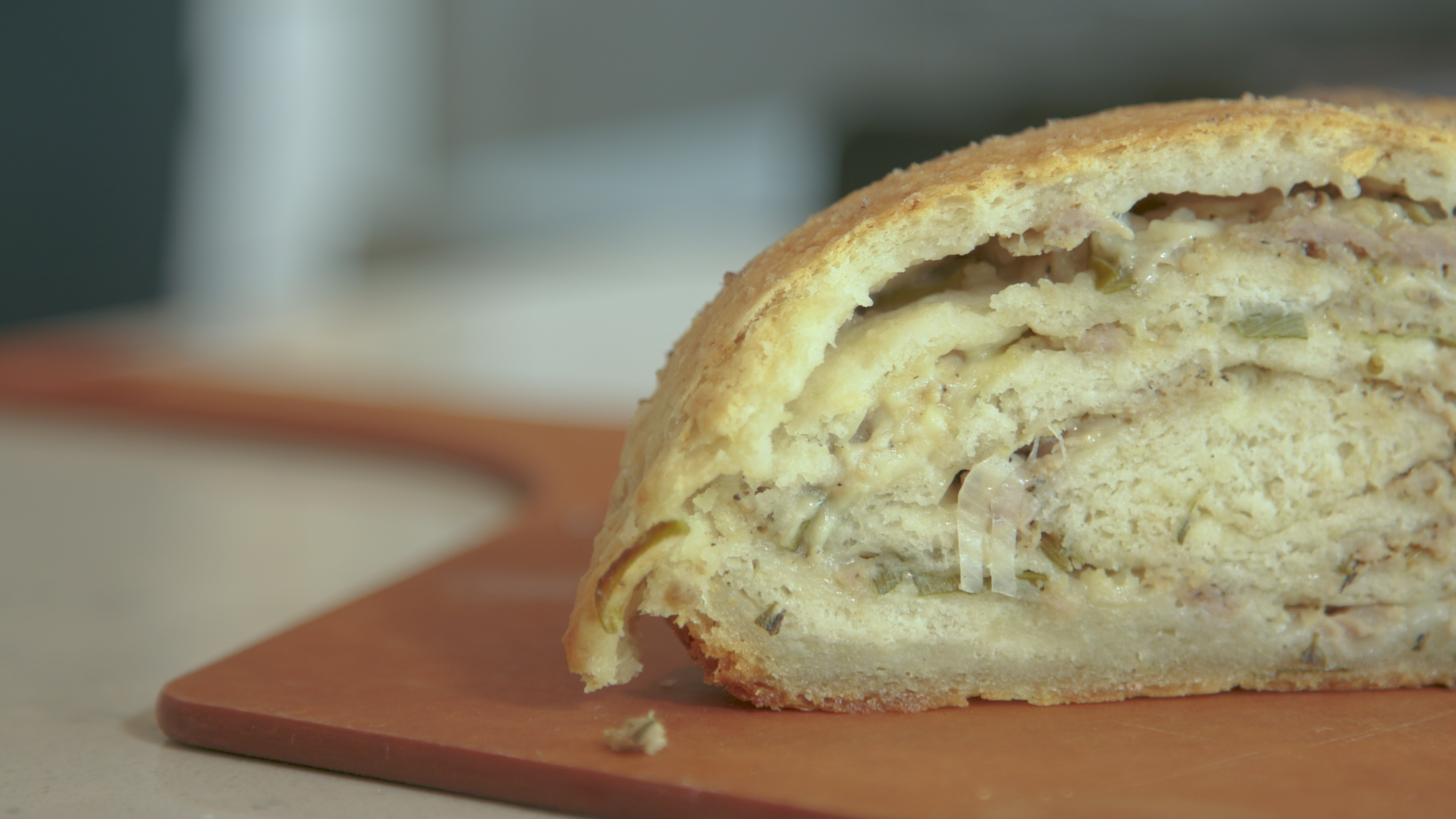 Fresh Rolled Bread with Savoury Pork Filling
